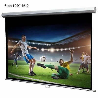 "Projection Screen 100"" 16: 9 Manual Pull Wall Ceiling Mount Projector Screen (15"