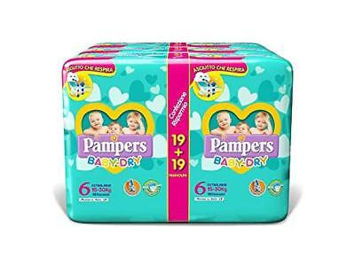 (TG. 6 - Extralarge) Pampers Baby Dry Duo Extralarge, 114 Pezzi, Taglia 6 (15-30