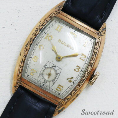 BULOVA 10KGF Cal.10BC hand winding 1944 antique Wrist watch Rare Vintage Used