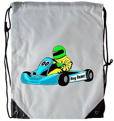 Personalised Go Cart Drawstring Gym Bag School Pe Swimming Dance Football Bag