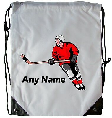 Personalised Ice Hockey Drawstring Gym Bag School Pe Swimming Dance Football Bag