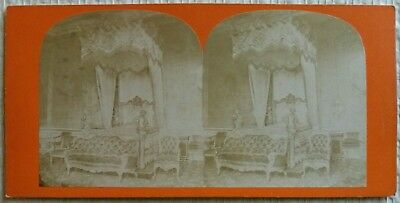Photo Stereo Stereoscopique Stereoview Chambre Palais Pitti Florence Italie 1860