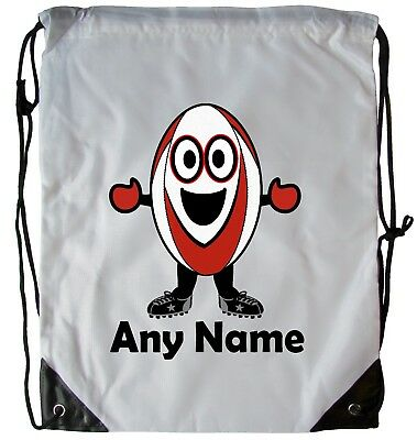 Personalised Rugby Boy Drawstring Gym Bag School Pe Swimming Dance Football Bag