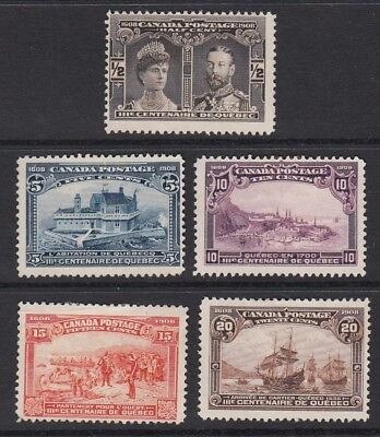 Canada 1908 Quebec Tercentenary Unused Selection (Nov18)