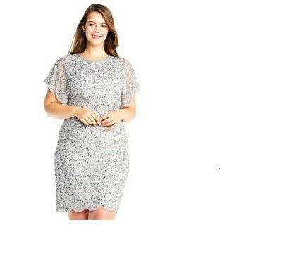362b48f2851 ADRIANNA PAPELL PLUS Size Beaded Flutter-Sleeve Dress $219 Size 18W ...