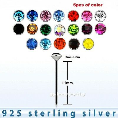 """5pcs. 22Ga 2mm Flat CZ .925 Sterling Silver """" Bend it yourself """" Nose Ring Stud"""