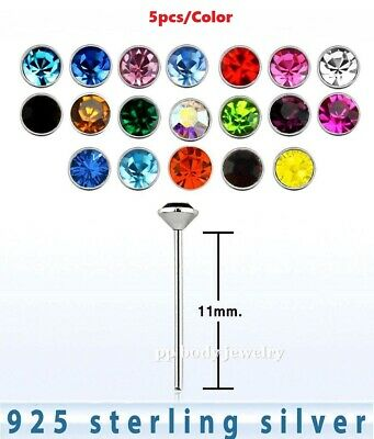 5pcs. 22g (0.6mm) 1.5mm Flat C.Z 925 Sterling Silver Straight Nose Stud