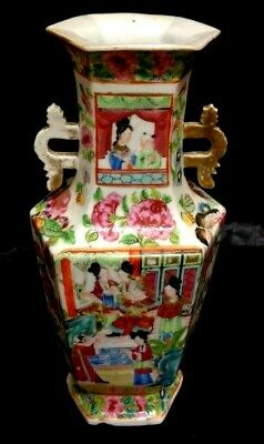 "ANTIQUE 10 "" Chinese Famille Rose Porcelain Hand Pinted 2 Handle Bottle Vase"