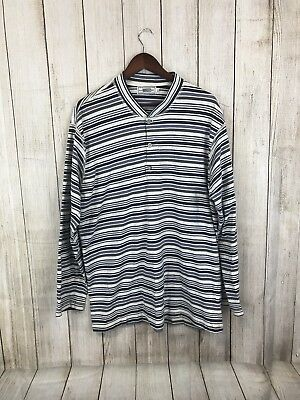 28d2a5b49612 Vintage Guess Original by Georges Marciano Striped Henley T Shirt Men's L  90's