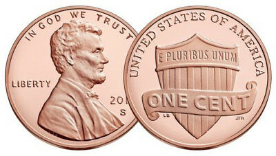 """2019 """"S"""" Lincoln Penny Union Shield Cent, Gem Proof, Single Coin"""