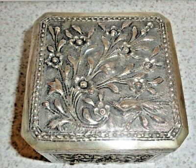 Antique Chinese Repousse Genuine tested Silver  800 parts Flower With Bird Box