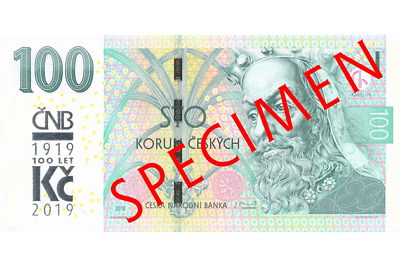 100 Korun Czech republic UNC 2019 NEW TYPE WITH COMMEMORATIVE OVERPRINT, RARE