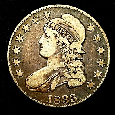 1833 ~**BETTER GRADE**~ Silver Capped Bust Half Dollar Antique US Old Coin! #K58