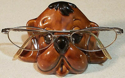 Vintage Hand Painted BROWN Ceramic EYEGLASES Eye Glass HOLDER Caddy PUPPY DOG