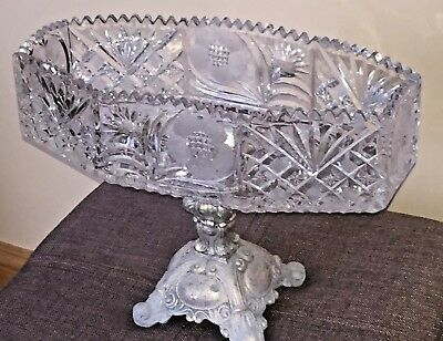 Vintage Crystal Octagon Bowl With Brass Stand