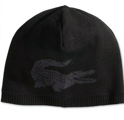 0e5bc557677 LACOSTE REVERSIBLE CONTRAST Croc Beanie Grey Mens One Size New ...