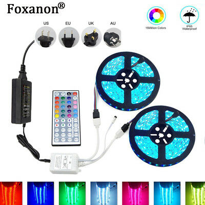 10M 1M 2M 5050 RGB LED Light Strip with 44keys IR Remote Controller+12V 5A Power