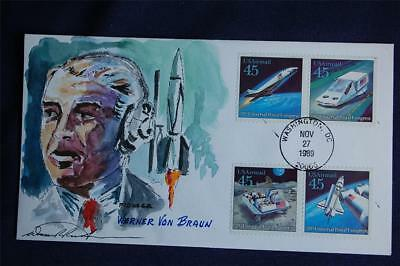 Futuristic Mail Delivery 45c AM Stamps FDC Wild Horse WaterColors HP Sc#C122-125
