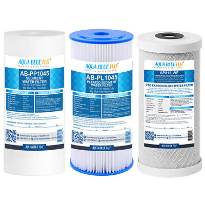 """10"""" x 4.5"""" Triple Whole House Water Filter System Replacement Cartridges Set"""