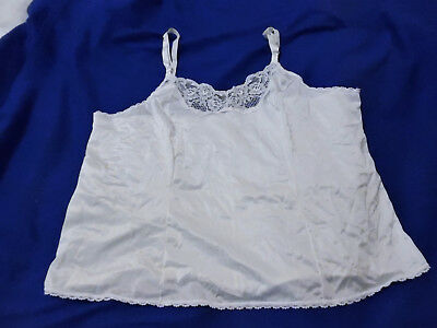 Vtg Bbw Big Beautiful Woman Xxl 42/44 White Cami Fancy Lace & Satin Camisole Top