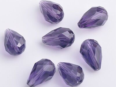 10pcs 12mm Teardrop Faceted Crystal Glass Charm Loose Spacer Bead Bluish Violet