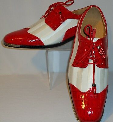 Mens Bright Red White Striped Tuxedo Shoes with Silver Tip Expressions 6345