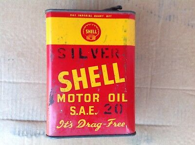 Vintage SHELL silver oil tin