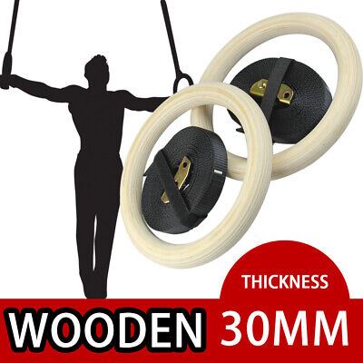 Wooden Gymnastic Olympic Rings Strap Crossfit Gym Fitness Exercise Training-2019