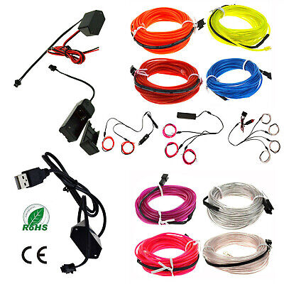 2M 10M EL-Wire 12V Car Interior Decor Fluorescent Neon Strip Cold LED light Lamp
