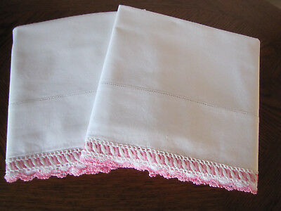 Vintage Pair Of Pillowcases White & Fancy Pink & White Crocheted Trim
