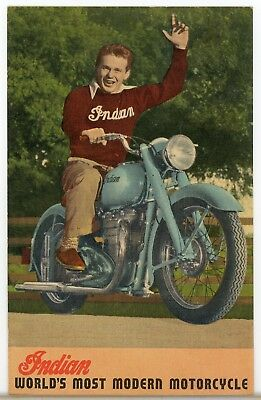 Linen Advertisng Postcard Indian Motorcycle Arrow & Scout
