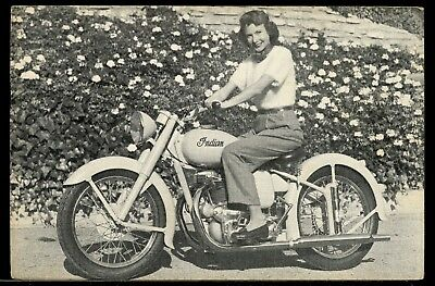 Linen Advertisng Postcard Pretty Girl Rides Indian Motorcycle Arrow & Scout