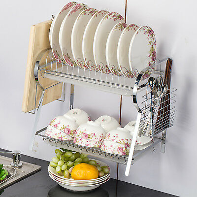2 Tiers Dish Drying Rack Dryer Tray Wall-mounted Kitchen RV Plate Storage - AU