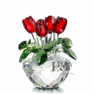 Crystal Cut Glass Flower Figurines Red Rose Ornaments Valentine Lady Gift Decor