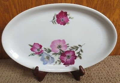 Boehemia Platter Made by Czechoslovakia With Flowers 13 1/2 X 8 1/4 Inches