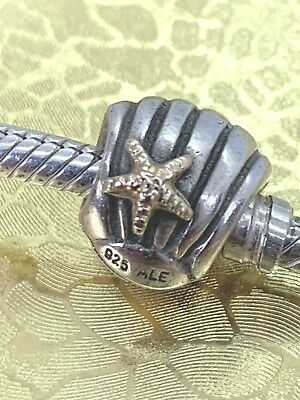 2bf9d814f Authentic Pandora Seashell Charm 790249 ALE STERLING SILVER AND 14K GOLD