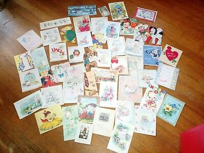 Vintage Greeting Card Lot of 52 Most from 1940's thru 1960's Used and unused