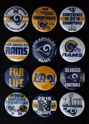 Los Angeles Rams 2018 NFC CHAMPIONS - 1 Inch Buttons - Set of 12 (Free Shipping)