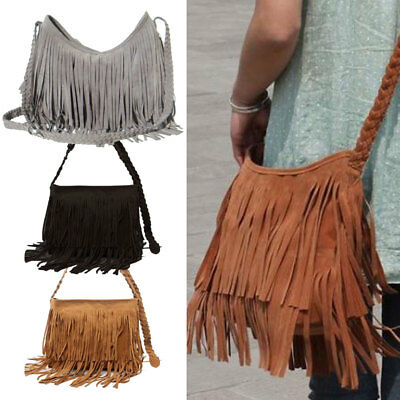 Faux Leather Fringe Shoulder Bag Crossbody Tassel Handbag Women's Purse