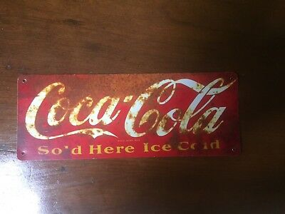 "TIN SIGN ""Coca Cola"" Rustic Vintage Beverage Mancave Kitchen Decor Real Thing Hi"