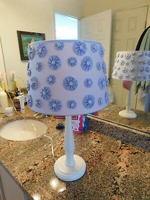 Pottery Barn Kids Lamp And Lamp Shade In Lavender With Flowers