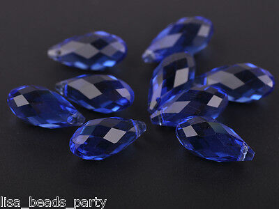 10pcs 20x10mm Teardrop Faceted Crystal Glass Loose Bead Pendants Blue