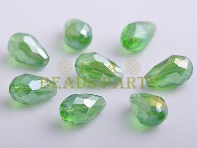 10pcs 15X10mm Teardrop Faceted Crystal Glass Loose Spacer Bead Green AB