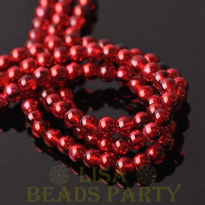 New 100pcs 6mm Round Glass Loose Spacer Bead Jewelry Making Red