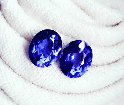 Loose Gemstone 8 to 9 Cts Natural Tanzanite Pair Certified
