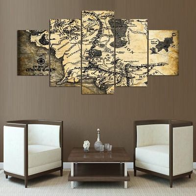 Middle Earth Map LOTR Framed Canvas Five Piece Wall Art 5 Panel Home Decor
