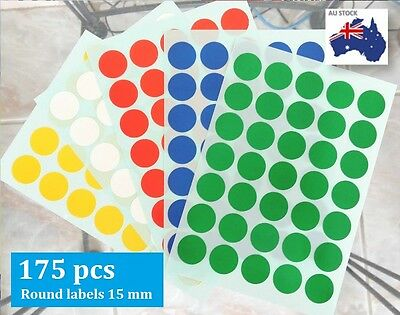 175 pcs Assorted Coloured Code Round Sticker Circle Label  Dots Spots 15mm