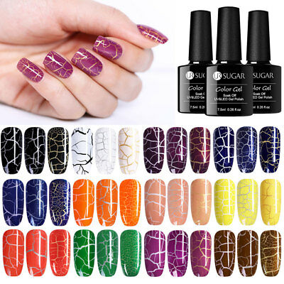 UR SUGAR 7.5ML Crackle UV LED Gel Nagellack Schwarz Gel Lacke Maniküre 12 Farben