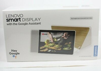 """Lenovo 10"""" Smart Display with Google Home Assistant - White Front/Bamboo Back"""