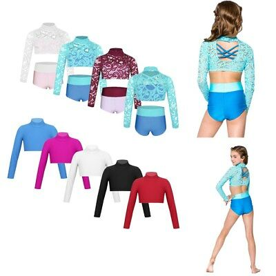 Girl Kid Dance Outfit Ballet Gymnastics Lace Crop Top+Briefs Mock Neck Dancewear
